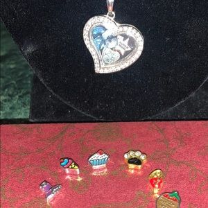 """19"""" Heart Open Locket Necklace w/11 Charms*New"""